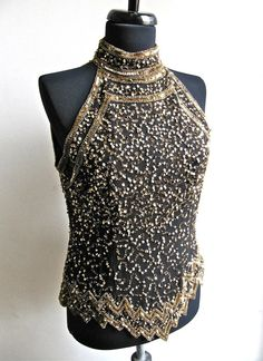 Beaded Black and Gold Halter Top