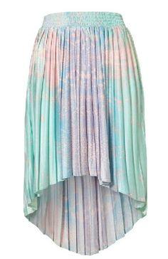 Green Asymmetrical Pleated High Low Skirt
