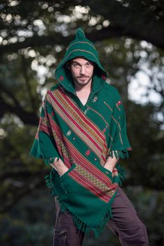 Handmade Green Poncho with Hood Kashmiri Earthy Tribal Pattern Festival Gypsy…