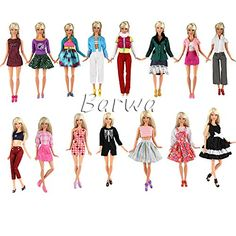 Barwa Lot 10 Sets Fashion Casual Wear Clothes/outfit for Barbie Doll Random Style Xmas Gift >>> You can find more details by visiting the image link.