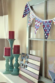 No sew fabric bunting. Perfect for a easy and simple MOPS craft!