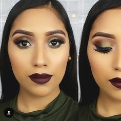 Love this mossy green smokey eye + vampy lip  Bring on the weekend!  /: @itslesliealvarado