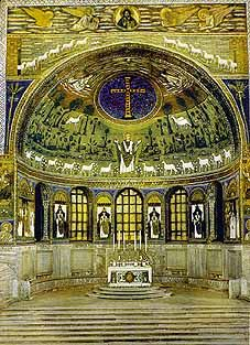 The peaceful apse of the San Apollinare in Classe church. Sanctus Apollinarius is seen like Christ as the good shepherd which is a theme that is not so present in iconography of later ages. I wonder if there are images of the heavenly marriage of Christ in early christian art or Christ as bridegroom as in the gospel parable.