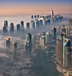 Dubai Marina under morning fog. Shot from the 85th floor of a residential building (which has 97 floors).