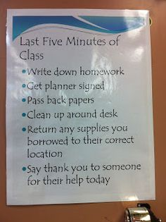 Need to figure something out for being better about passing back papers and getting kids to clean up. Maybe a visual reminder and more consistent integration in daily class time?    From The Teacher Who Hated Math: Last Five Minutes