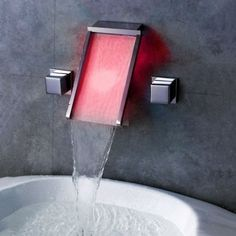 This self-powered faucet works by water pressure - no battery or electronic connection needed. The bright LED colors will change according to the water temperature to make your bathroom safer, and way more fun.