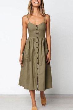 Cotton Button Striped High Waist Dress is part of Boho midi dress - Size Bust Waist Length S 32 26 39 M 33 28 39 L 35 29 40 Mode Outfits, Fashion Outfits, Fashion Ideas, Ladies Fashion, Dress Fashion, Fashion Clothes, Fashion Sandals, Boho Midi Dress, Midi Dresses