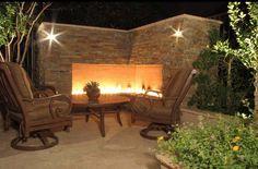 Outdoor Corner Fireplace  Outdoor Fireplace  Unique Landscapes by Griffin  Mesa, AZ