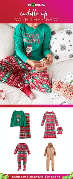 Make family-nights-in even more rewarding...and cozy! Now you can earn Kohl's Cash on holiday pajamas for kids and grownups too. After all, who doesn't need matching Santa pjs and a reindeer romper!? They're perfect for lounging on Christmas morning or capturing a Christmas-card-perfect moment. Shop Jammies for Your Families and Cuddl Duds slippers too at Kohl's.