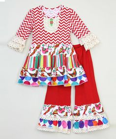 Look at this Red Chevron & Dots Dress & Ruffle Pants - Infant, Toddler & Girls on #zulily today!