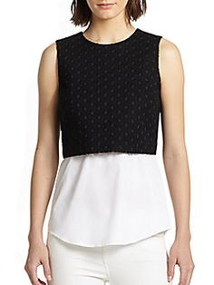 THEORY Yuranda Two-Way Convertible Eyelet Top. #theory #cloth #top