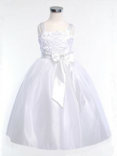 A classic beauty flower girl dress with full tulle skirt and a modern  satin rosette bodice makes this dress, one of our top picks for this year.