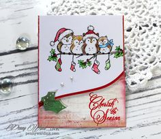 Everyone has a story to tell, this is mine made with paper and glue.Thank you for stamping by and I hope you come back for another visit. Friend Crafts, Owl Family, Christmas Bird, Winter Cards, Owls, Stamping, Birds, Diy Crafts, Ink
