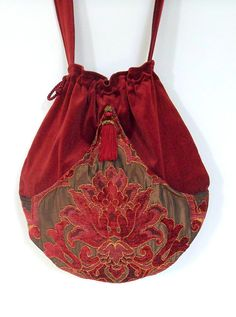 Brick Red Velvet Pocket Boho Bag  Drawstring Bag by piperscrossing, $58.00