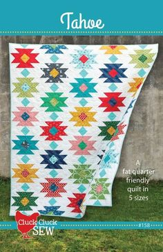 Cluck Cluck Sew Quilt pattern designed by Allison Harris - Tahoe - A fat quarter friendly quilt in 5 sizes - Quilt Baby, Quilting Projects, Quilting Designs, Quilting Ideas, Quilting Tutorials, Sewing Projects, Southwestern Quilts, Patchwork Quilt, Flag Quilt