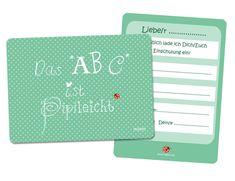 Glückwunschkarten - Einladung Einschulung abc millimi 5 Stk - ein Designerstück von millimi bei DaWanda