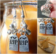 These cute tombstone earrings are perfect for anyone who loves halloween, featuring tiny grey freshwater pearls, smoky quartz button beads, grey-ish glass beads and cute tombstone charms. These earrings are silver plated. Halloween Tombstones, Present Gift, Smoky Quartz, Ghosts, Handmade Crafts, Bump, Gift Tags, Glass Beads, Diva
