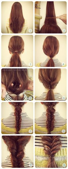 The Beauty Department - Fish Tail braid with a twist! Good Hair Day, Great Hair, Pretty Hairstyles, Braided Hairstyles, Wedding Hairstyles, Short Hairstyles, Party Hairstyle, Amazing Hairstyles, Hairstyle Ideas