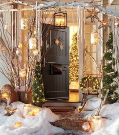 Christmas: Charming Christmas Front Porch Decorating Ideas Bringing The Holiday Feelings, Wonderful Front Porch Decorations Idea for Christmas with Dry Twigs in Pot and Pre Lit Artificial Pine Trees also Ceiling Sconce and Hang Snowflakes Ornaments