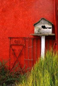 bird house against a red wall