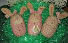 Set of 3 Pink Prim Easter Bunnies Ornie Bowl Fillers | eBay