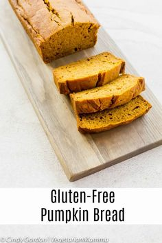Treat yourself to this delicious fall recipe - Gluten Free Pumpkin Bread. This will quickly become one of your favorite gluten free desserts! | pumpkin recipes | gluten free pumpkin bread | pumpkin bread recipes gluten free | gluten free desserts | fall recipes || Vegetarian Mamma #pumpkin #pumpkinbread #pumpkinbreadrecipesglutenfree #glutenfreepumpkinbread #glutenfreedesserts Gluten Free Bread Recipe Easy, Gluten Free Pumpkin Bread, Gluten Free Baking, Gluten Free Desserts, Gluten Free Recipes, Bread Recipes, Snack Recipes, Gf Recipes