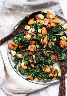 The perfect wintery salad with roasted butternut squash, curly kale, butter beans and pesto. Serve warm as a stand alone dish, or side. Only 5 ingredients.