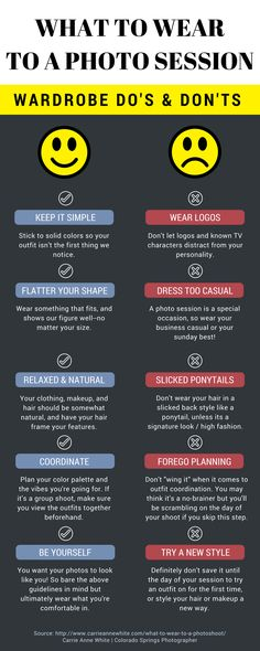 to Wear to your Photoshoot Crucial wardrobe planning tips for your photo session. What to wear, and what not to wear!Crucial wardrobe planning tips for your photo session. What to wear, and what not to wear! Fashion Photography Poses, Clothing Photography, Family Photography, Photography Portraits, Photography Ideas, Children Photography, Wedding Photography, Photography School, Photography Lessons