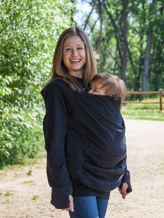 Just like your favorite cotton hoodie, made for two! The Boba Hoodie provides an extra layer of protection for you and your little one. Can be worn with your baby in a soft structurer baby carrier (or any other carrier that allows for a front/back carry) on your front or your back. Thumb holes keep sleeves down for easier cool-weather layering.