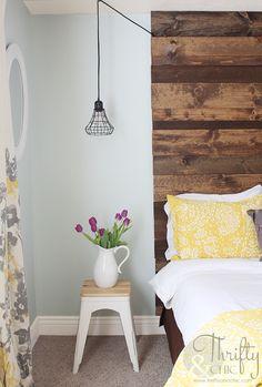 Guest Room Makeover -From Beige and Blah to Colorful! :: Hometalk Wood Headboard, Diy Headboards, Diy Flooring, Wood Ceilings, Bedroom Decor, Master Bedroom, Bedroom Ideas, Wood Bedroom, Bedroom Lighting