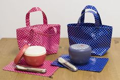 Japanese handmade place mat and mini bag lunch (Pink, Blue)