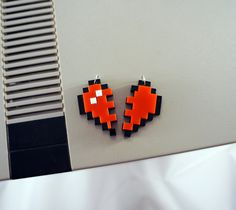 His/Hers & Best Friends 8-Bit Heart Acrylic Plastic Necklace Charms. $15.00, via Etsy.