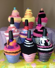 Soo Cute! Sock Cupcakes with nail polish and lip gloss. Perfect birthday party  favor for a spa or pajama party!
