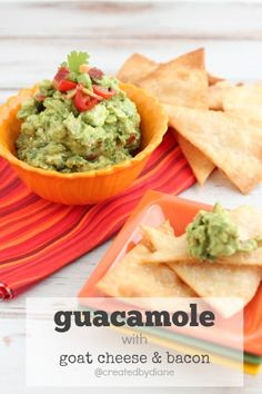 the addition of a little bit tangy and a little bit smokey makes this guacamole a huge HIT! perfect with fresh made flour tortilla chips Finger Food Appetizers, Appetizer Recipes, Guacamole, Sauces, Bacon, Tailgate Food, Tasty, Yummy Food, Game Day Food