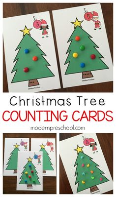 Free printable Christmas tree counting cards!  Practice numbers, fine motor skills, math, and even science with preschoolers!