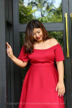 ชุดสาวอวบ เดรสสาวอวบ Audrey Off The Shoulder Skater Dress   Elegant Classy Sassy Plus Size Fashion Clothing from Bangkok Thailand Asia