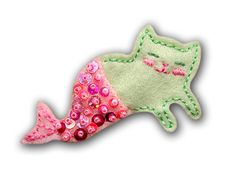 Meowmaid Mermaid Kitty Felt Brooch. $16.00, via Etsy.