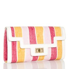 Pin to win $500.00.  Another clutch with so much personality it jumped straight into my cart tonight!  The cool elegance of this summer clutch with hidden strap matches the toned down colors with a unique zig-zag white trim that adds up to nothing less than posh!  Catch this while you can!