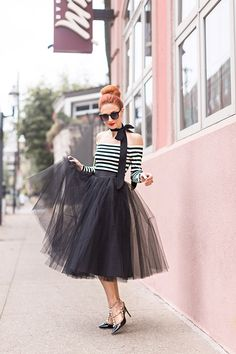 PARISIAN CHIC | STRIPES and TULLE SKIRTS - The Southern Gloss, midi skirt, adult tutu, Space 46 tulle, black midi tulle skirt, womens fashion, bow neck tie, black stripe off shoulder top, fashion blogger, 50s fashion
