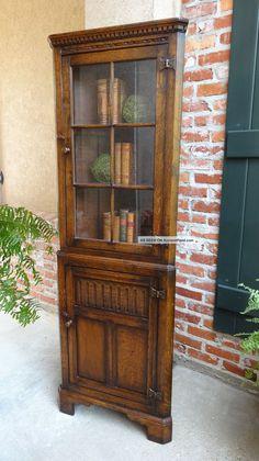 TALL Antique French Carved Oak Barley Twist CORNER Cabinet ...
