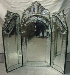 Imported furniture, home furnishings, Bronze, Marble. Deerfield Street, NJ[ tri fold venitian mirror for grandma's vanity Antique Mirrors, Vanity Mirrors, Venetian Mirrors, Vanity Set, Mirror Mirror, Loveless, Tri Fold, Vanities, Home Furnishings