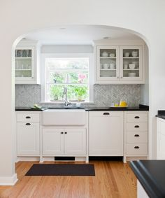 Craftsman Kitchen with Splashback tile oriental sculpture herringbone 12 in. x 12 in. x 8 mm marble mosaic floor and wall repose gray sherwin williams