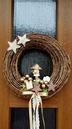 Vánoční věnec na dveře.. Se srdcem na dlani