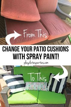 Yes, I Actually Spray Painted My Patio Cushions (ORC Week is part of Painting patio furniture - Learn all the tips and tricks to get the best results from spray painted patio cushions and the truth about whether or not it's worth the the effort Painting Patio Furniture, Patio Furniture Makeover, Cheap Patio Furniture, Spray Paint Furniture, Patio Furniture Cushions, Lawn Furniture, Patio Makeover, Cozy Furniture, Furniture Ideas
