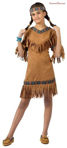 American Indian Girl Child Costume - I have a bunch of Native American ribbon already. Can cut big t-shirt to make the fringe.