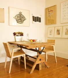 old drafting table as dining table
