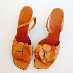 Celine Tan Leather Heels Sz 8.5 Brown Sandals $60