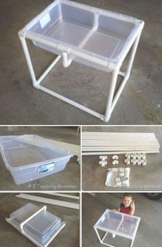 DIY Sandbox Ideas and Projects for Kids DIY plastic storage box and PVC sand or water table Water Table Diy, Sand And Water Table, Diy Table, Water Tables, Water Table For Kids, Toddler Water Table, Outdoor Games For Toddlers, Activities For Kids, Outdoor Activities