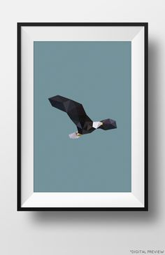 Polygon Bald Eagle poster availble on Etsy.