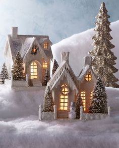 Ivory Glitter Cottages by Bethany Lowe at Horchow. paint and glitter paper mache houses and put a led candle in Christmas Village Houses, Putz Houses, Christmas Villages, Fairy Houses, Christmas Paper, Christmas Projects, All Things Christmas, Christmas Home, Christmas Glitter